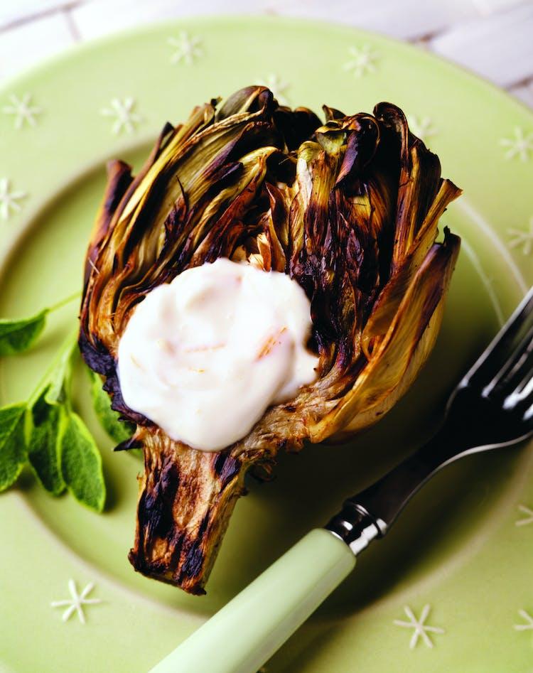 Grilled Artichokes With Garlic Mayonnaise Veggies