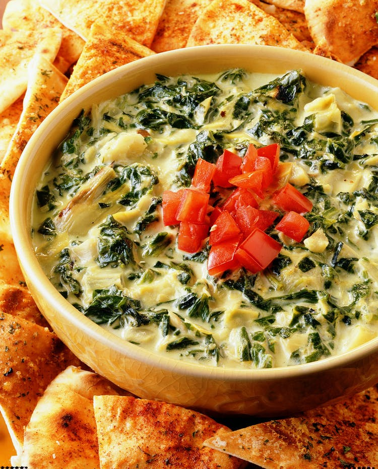 Grilled Artichoke And Spinach Dip With Pita Wedges
