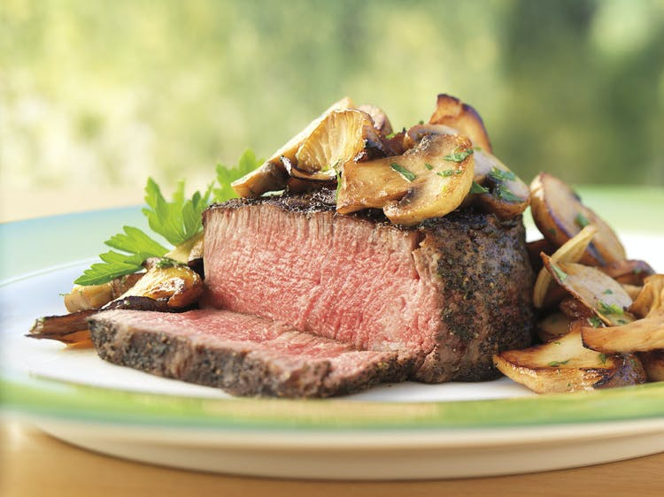 Tea Rubbed Filet Mignon Steaks With Buttery Mushrooms