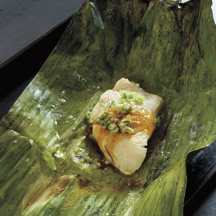 Ginger And Miso Black Cod In Banana Leaves Seafood