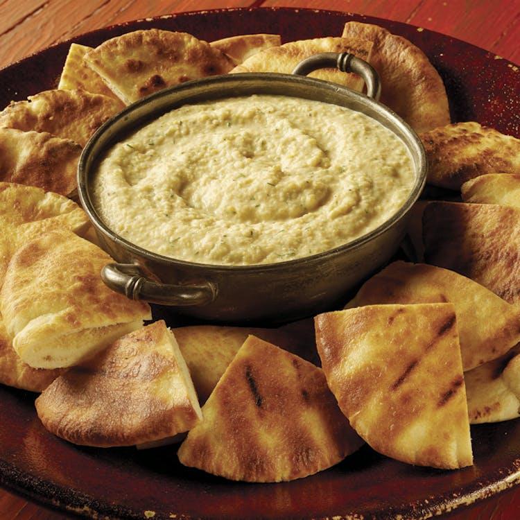 Ember Roasted Onion And Garlic Dip With Crispy Pita