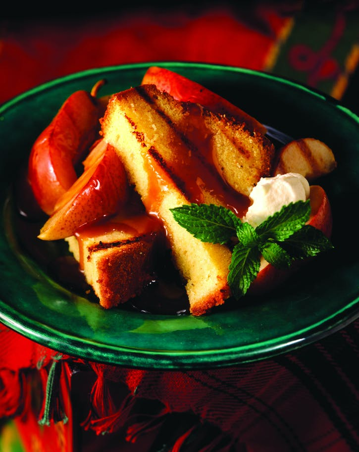 Pound Cake with Grilled Pears and Caramel-Rum Sauce