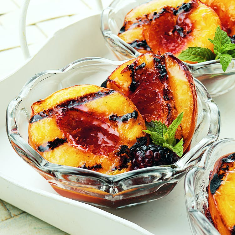 Grilled Peaches With Blackberry Sauce Desserts Recipes