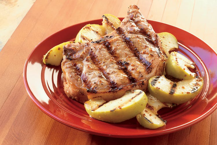 pork chop recipes weber grill Whiskey–Mustard Pork Chops with Grilled Apples