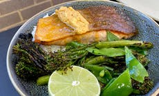 Crispy Salmon With Laksa Butter And Grilled Greens