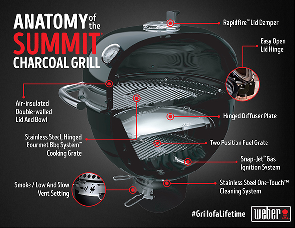 Weber Summit Charcoal Holzkohlegrill : The anatomy of the summit charcoal grill behind the grill