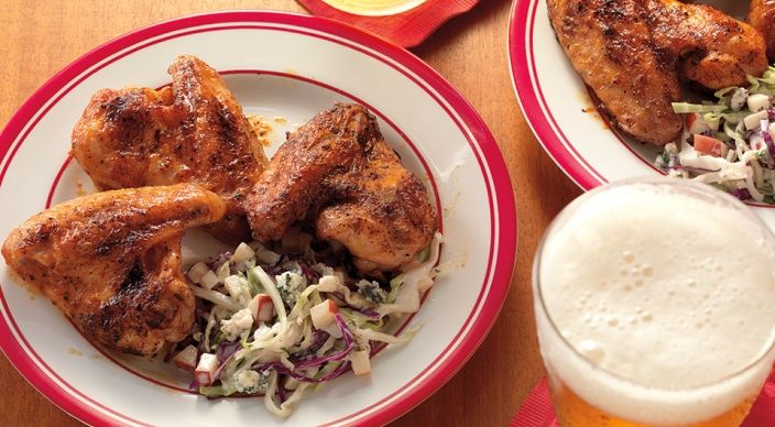 Buffalo-Chicken-Wings-with-Creamy-Blue-Cheese-and-Apple-Slaw