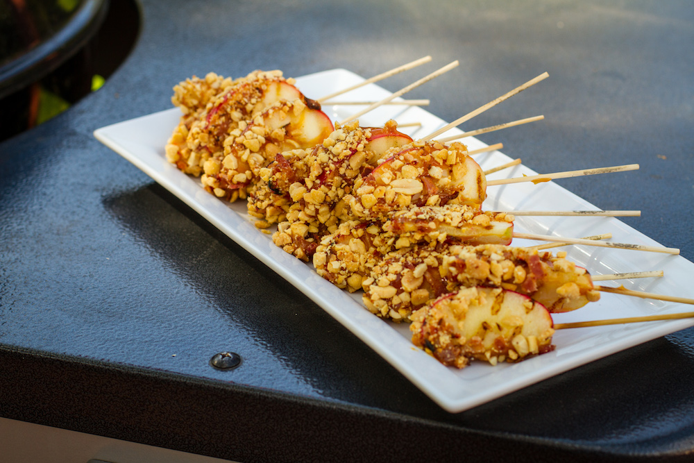 Grilled Caramel Apples with Nuts and Bacon on a Weber Grill
