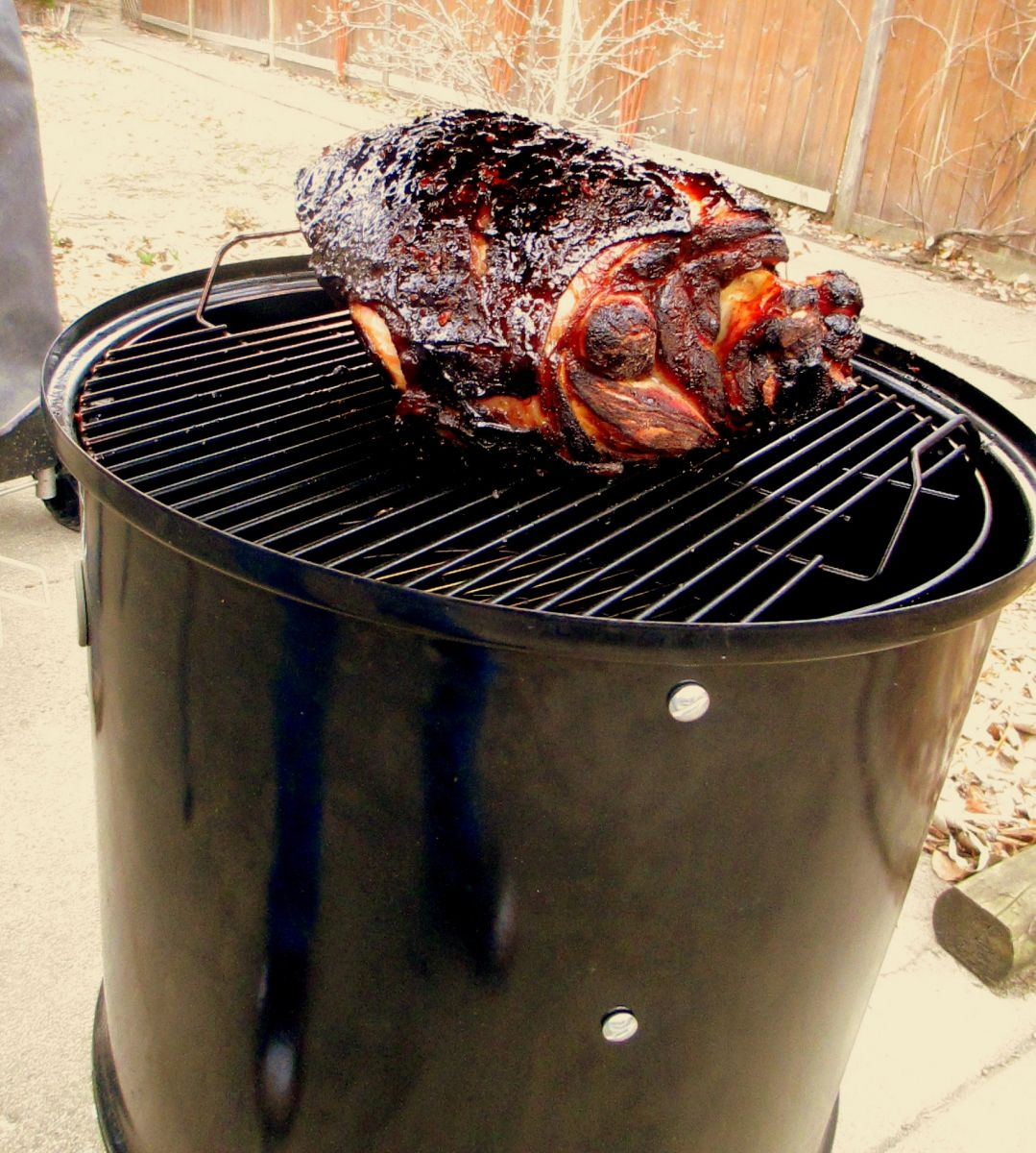 Pecan Smoked Fresh Ham With Maple Glaze On The Wsm Grilling